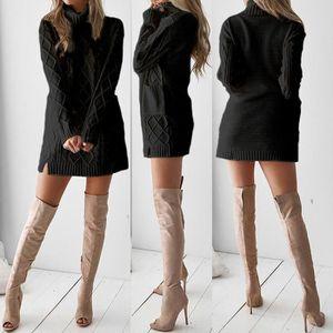 ELECTRI Les Femmes dhiver Pull /à col roul/é en Tricot Chaud /à Manches Longues Mini Robe Pull