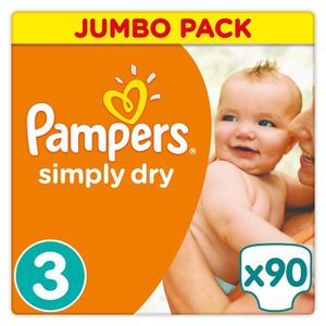 COUCHE PAMPERS Simply Dry Taille 3 - 4 à 9kg - 90 couches