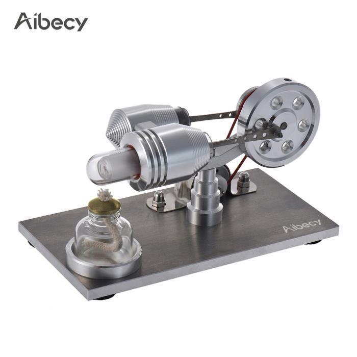 Aibecy Mini Stirling Modèle de moteur à Air chaud Machine de générateur d'électricité de puissance thermique avec lumière LED