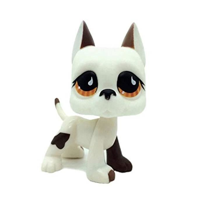 Figurine Miniature U36O7 Action Figures750 Pet Dog Shop White & Brown Great Dane Puppy Dog Brown Eye Toy