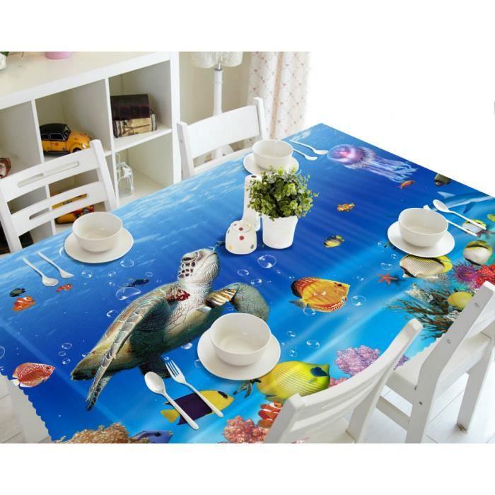 Nappe de table Motif tortues méduse poissons au fond de la mer 3D effect imperméable et antipoussière 140 x 200cm