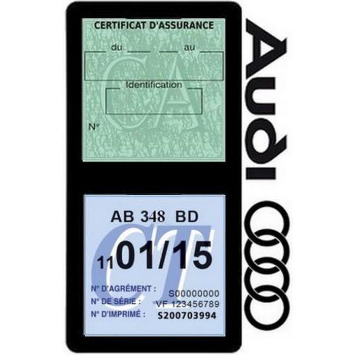 Double porte vignette assurance Audi sticker adhésif couleur noir