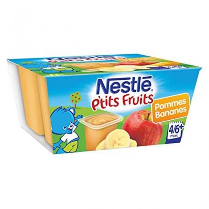 Nestlé P'tit Fruits Pommes Bananes (+4-6 mois) par 4 pots de 100g (lot de 8 soit 32 pots)