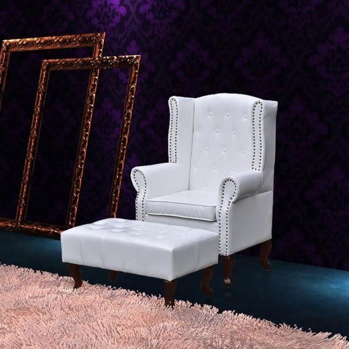Fauteuil Relaxation Fauteuil Relax Confortable - Fauteuil Salon chesterfield avec ottoman assorti blanc Meuble© ®VWTVYI®