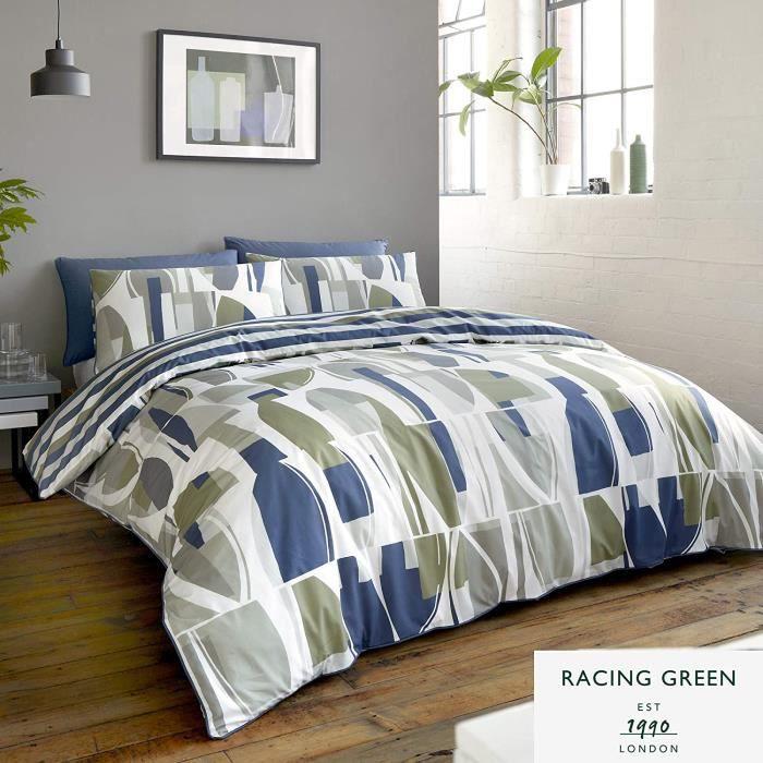 Racing Green Trace-Easy Soin Set Housse de Couette, Marine & Kaki, Double