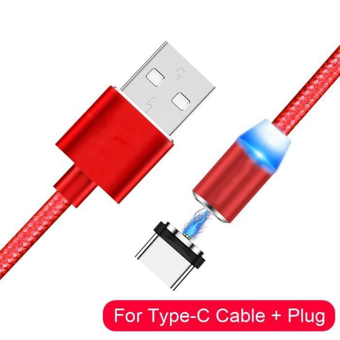 Câble téléphone,Câble USB magnétique pour iPhone 11 XS XR X 8 7 6 S Plus 5 5S SE Samsung Type C chargeur - Type Red Type C Cable-2m