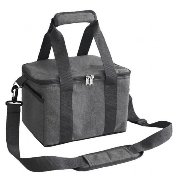 Cooler Sac Pliable pique-nique Sac Portable isothermiques Cooler Bag Camping bureau de l'école Gris