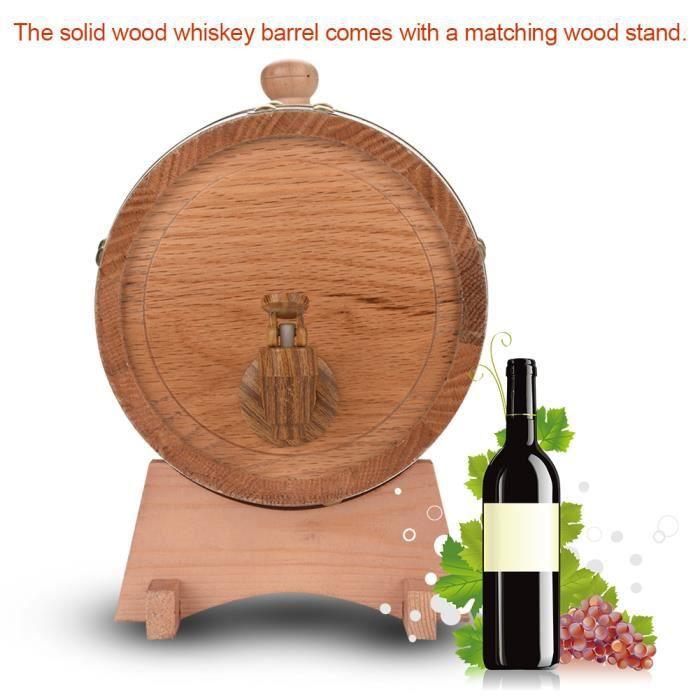 Dioche Tonneau de vin Distributeur de baril de vin en bois de chêne vintage 3L pour whisky Bourbon Tequila
