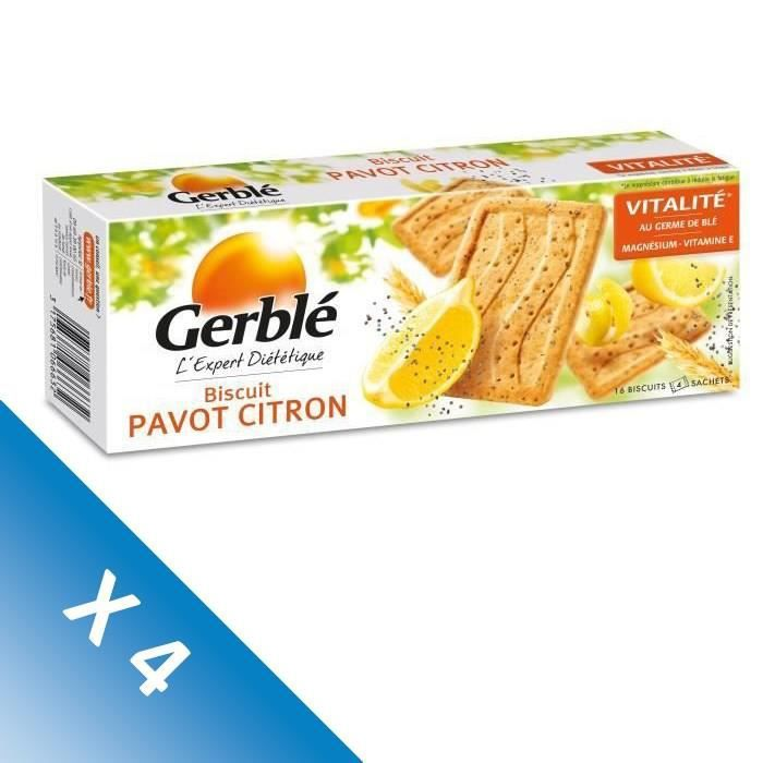[LOT DE 4] Biscuits pavot citron 200 g Gerblé