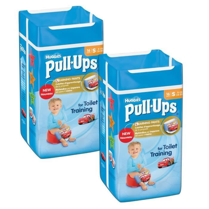 HUGGIES Lot de 2 Pull-Ups Boy Taille 4 - De 8 à 15kg - 16 couches