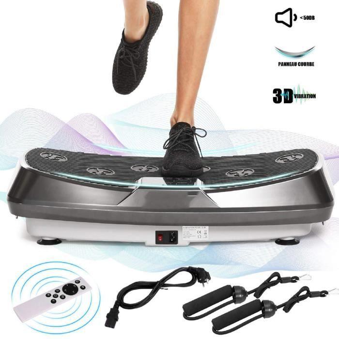Plateforme Vibrante Oscillante Fitness Deux Moteurs Mouvement 3D pour Musculation et Perte de Poids Brûleur de Graisses -Gris