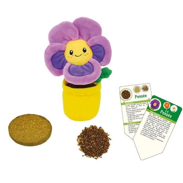 SILENCE CA POUSSE Lot de 3 fleurs (Pensée, Capucine et Marguerite) en peluche +/- 13 cm avec pot 7xØ8,5 cm, bloc de terre et graines