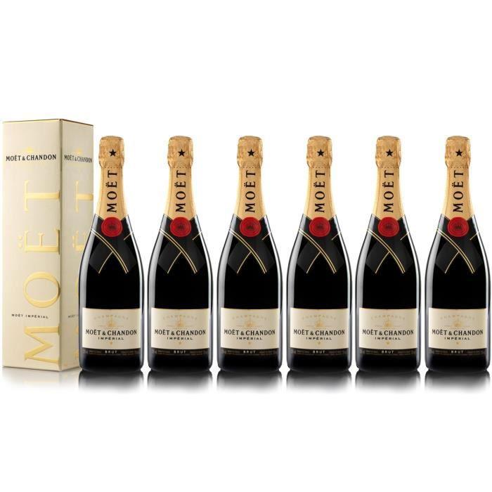 Lot 6 Champagnes Moët & Chandon Brut Moët Imperial 75cl avec étuis