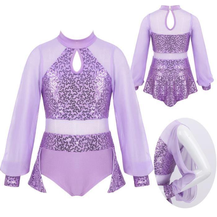 Justaucorps Gymnastique Fille Enfant Tenue Patinage Artistique Sequin Paillettes Brillants Ballet Body Danse 3-14 Ans