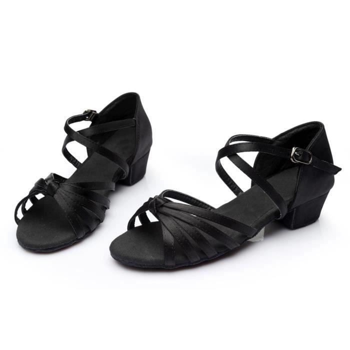Mode féminine danse Rumba valse bal salle de bal chaussures de danse latine sandales -Noir