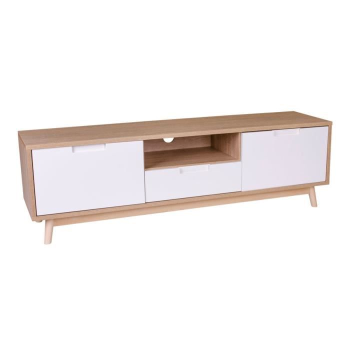 Meuble TV coloris blanc et naturel avec 2 portes et 1 tiroir - Dim : 150 x 46 x 38 cm