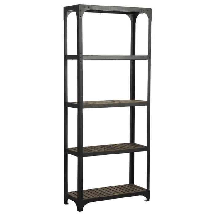 Etagère en métal et bois laqué noir, L 86 x P 35 x H 204 cm
