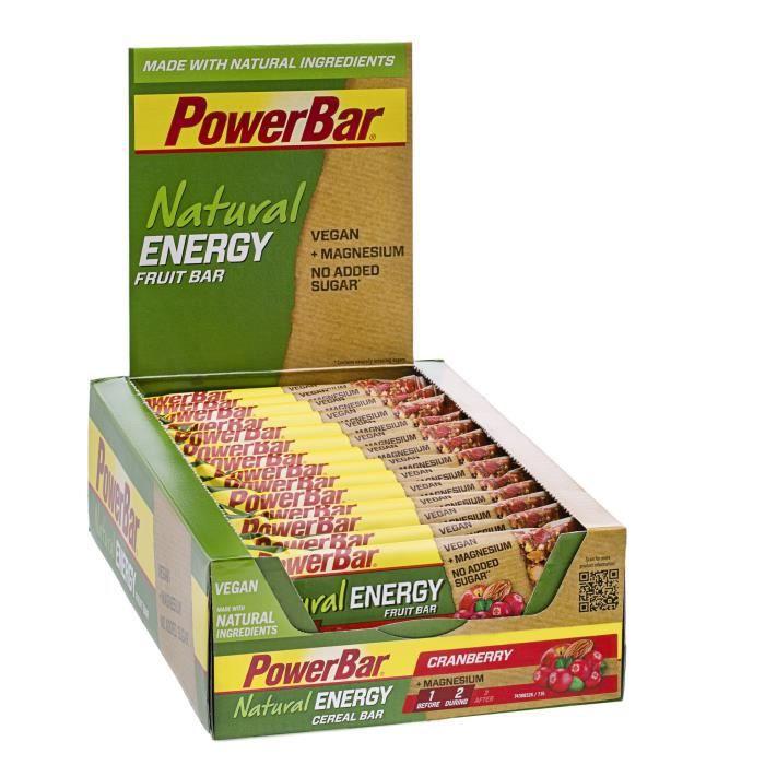 POWERBAR Lot de 24 barres Natural Energy Fruit et Nut - Canneberge - 40 g