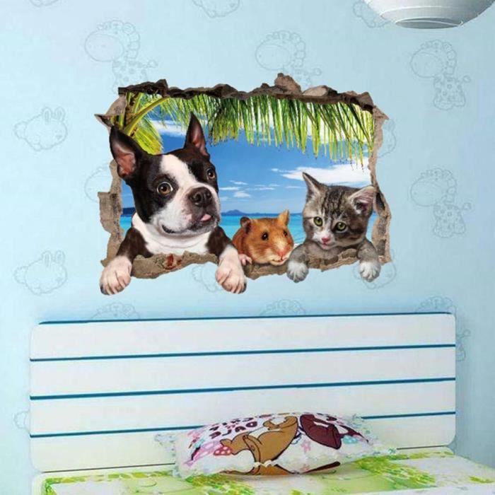Mignon 3D Animal Sticker mural Lit Lit D'appoint Innovante Canapé TV Fond D&eacutecoratif Stickers Muraux de Bande