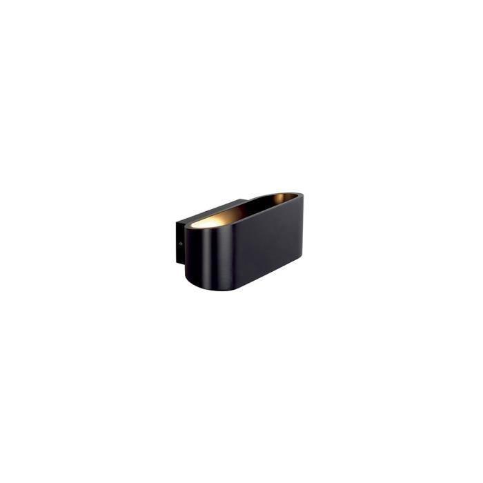 OSSA R7s applique, oval, noir mat, R7s 78mm, max. 100W, up/down