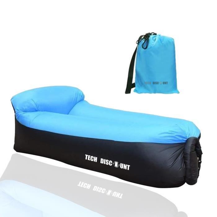 TD® Hamac Gonflable air Sofa Étanche Longue Chaise Gonflable Canapé /Sac Rangement/ Camping Piscine Plage Jardin Bleu/ Plein Air