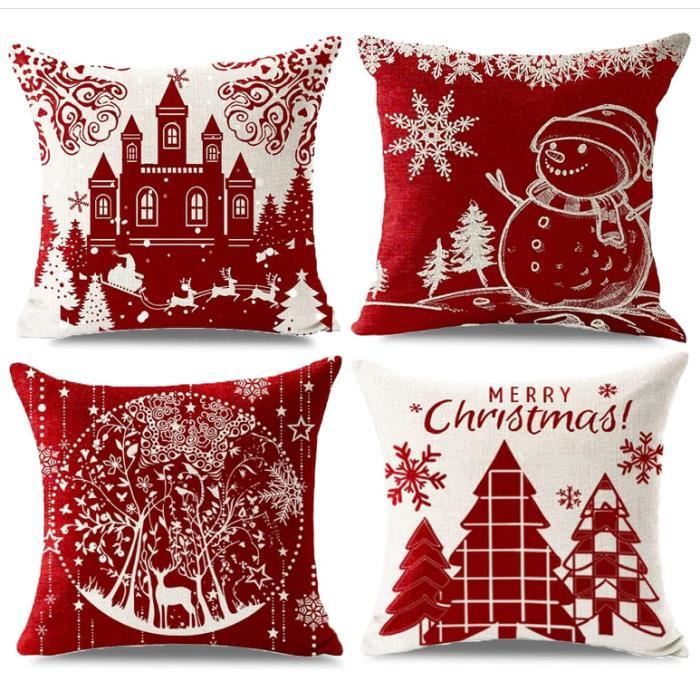 Housse de Coussin Noel, 4 Pack Coton Linter Rouge Décoratif Noël Taie d'oreiller Coussin pour Canapé Salon Lit Canapé Voiture