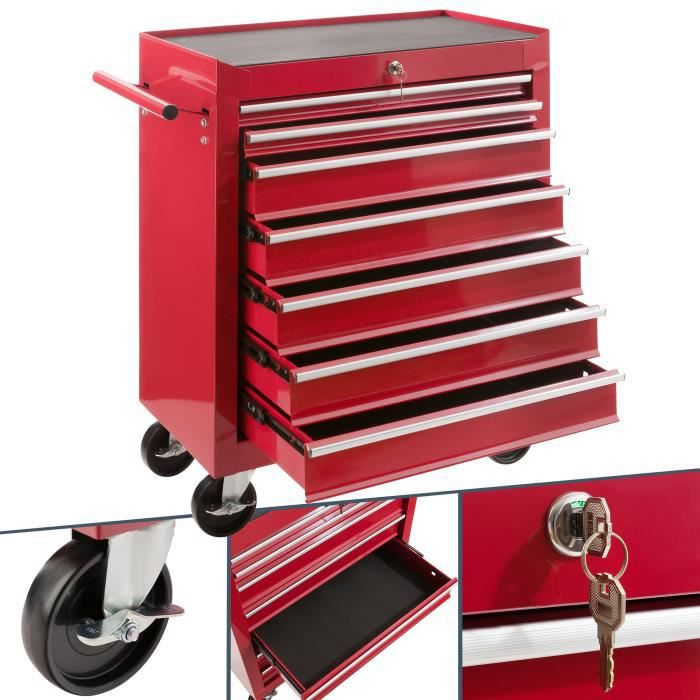 servante caisse outils d atelier 7 tiroirs tools chest chariot rouge achat vente bac de. Black Bedroom Furniture Sets. Home Design Ideas