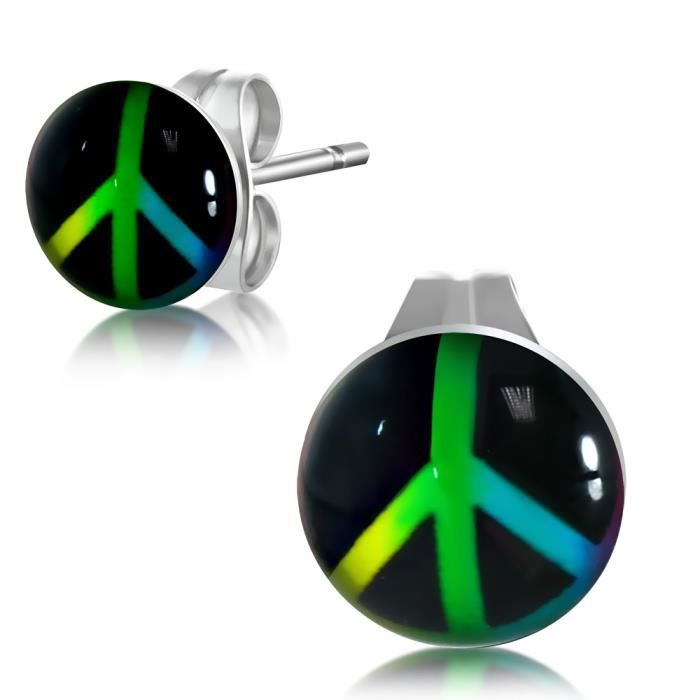 Boucles d 39 oreilles peace and love ronde noir vert jaune - Boucle d oreille peace and love ...