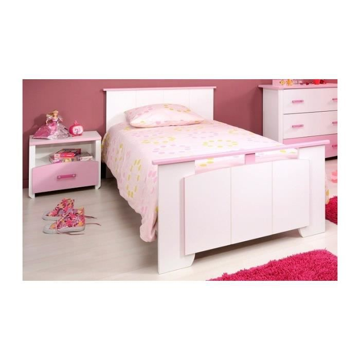lit en 90x190 avec chevet blanc et rose pour chambre fille. Black Bedroom Furniture Sets. Home Design Ideas