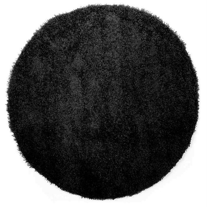 tapis shaggy rond longue m che noir 160cm achat vente tapis cdiscount. Black Bedroom Furniture Sets. Home Design Ideas