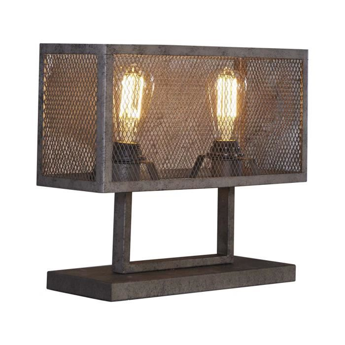 Lampe De Table Design Industriel Avec Grille 2l Finition Argente