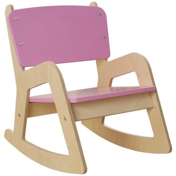 Rocking chair en bois enfant millhouse rose rose achat for Chaise a bascule enfant