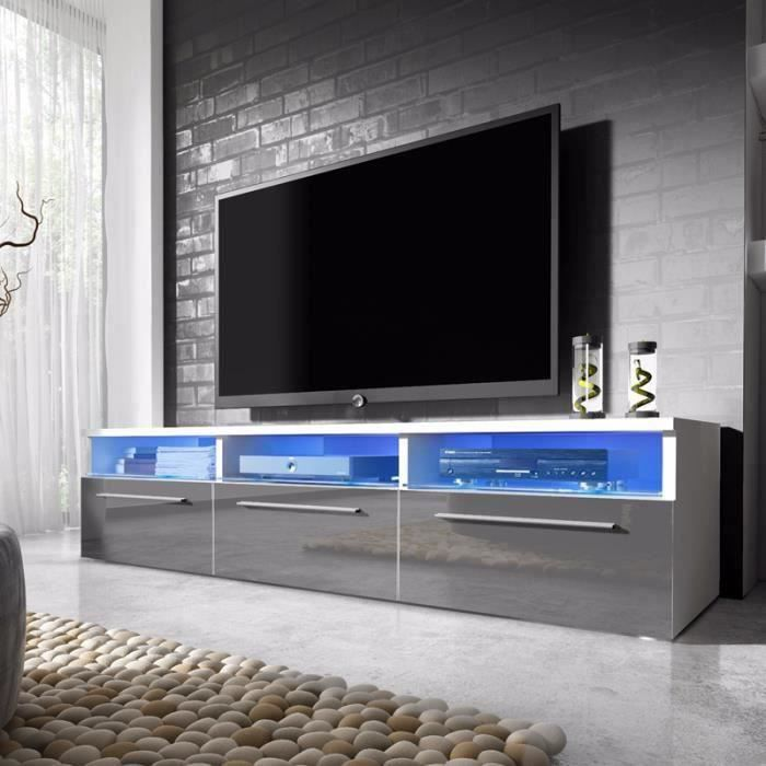 meuble tv lavello blanc mat gris brillant avec led