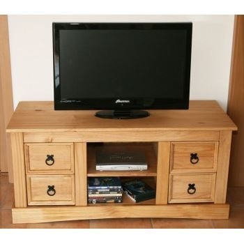 Meuble tv en pin cir 4 tiroirs et 2 niches achat for Meuble tv pin
