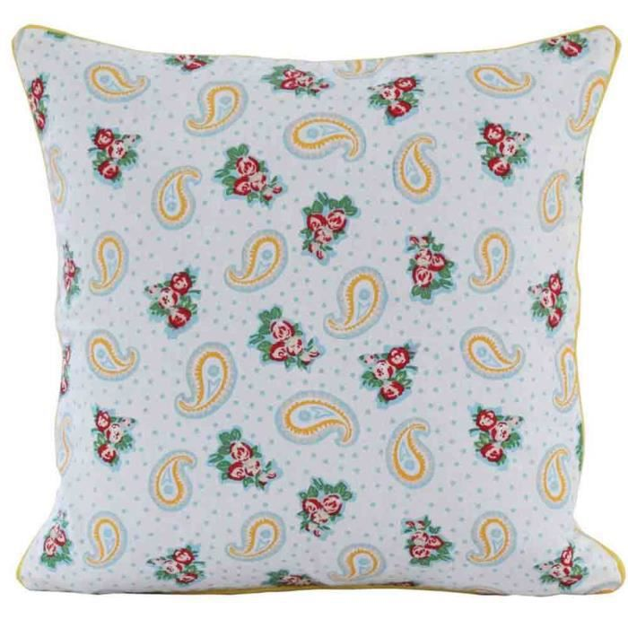 coussin d houssable jaune paisley et pois 30 x 30 cm. Black Bedroom Furniture Sets. Home Design Ideas