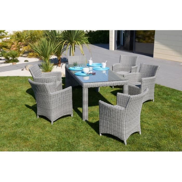 ensemble de jardin elegance table avec 6 chaises r sine tress e achat vente salon de jardin. Black Bedroom Furniture Sets. Home Design Ideas