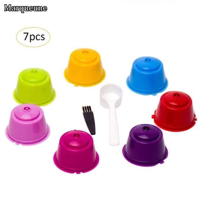 Capsules de caf/é r/éutilisables r/éutilisables de 3PCS tasses avec la brosse de cuill/ère compatibles avec la machine /à caf/é de Dolce Gusto