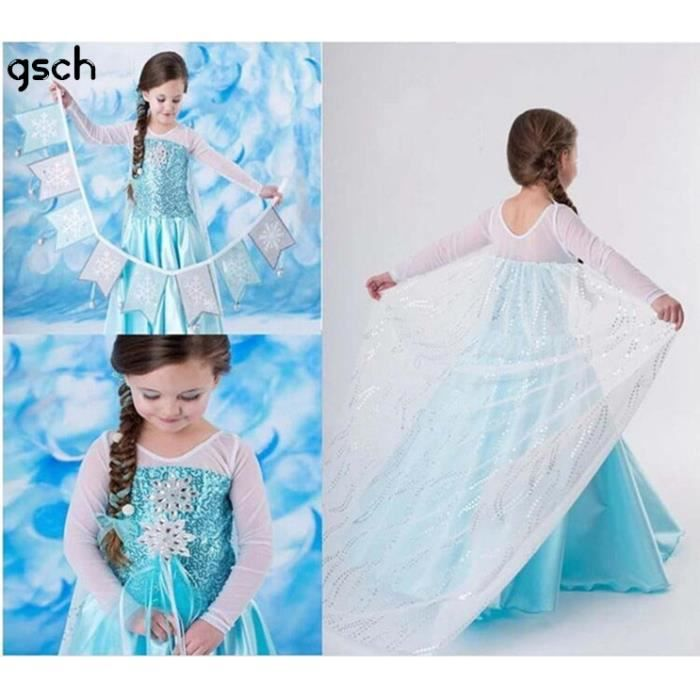 gsch enfants cosplay elsa d guisement robe reine des neiges elsa v tements achat vente. Black Bedroom Furniture Sets. Home Design Ideas