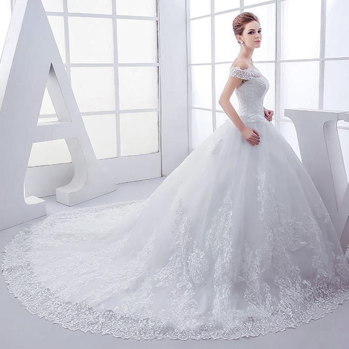 Nouvelle Mariee Robe De Mariee Femme Enceinte Princesse Mariee Grande Queue Train Blanc Achat Vente Robe De Mariee Cdiscount