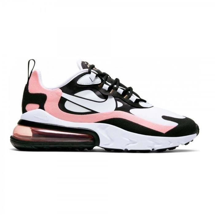 Baskets Nike Air Max 270 React femme BLANC ROSE NOIRE ...