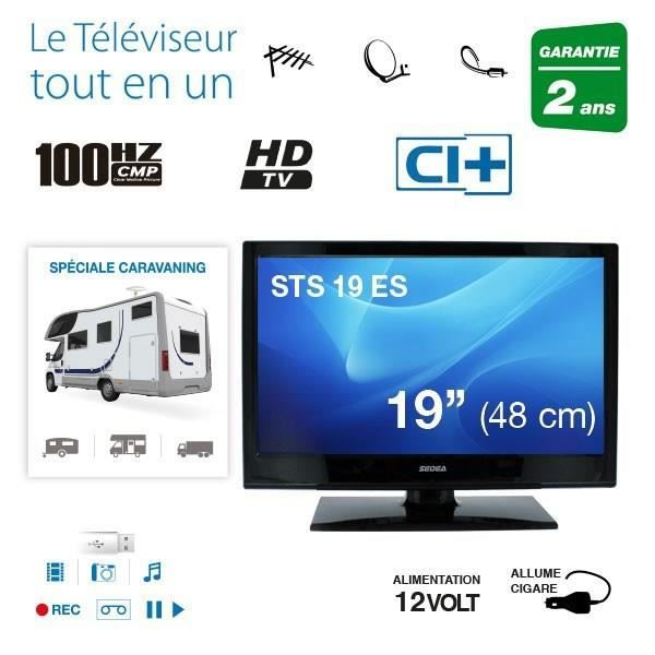 sedea tv led 48 cm hd camping car 12v satellite t l viseur led avis et prix pas cher. Black Bedroom Furniture Sets. Home Design Ideas
