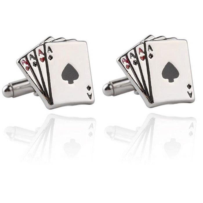 Kentop Boutons de Manchette Homme Creative Poker Boutons de Manchette Argent Chemise Chemise Boutons de Manchette Cadeau