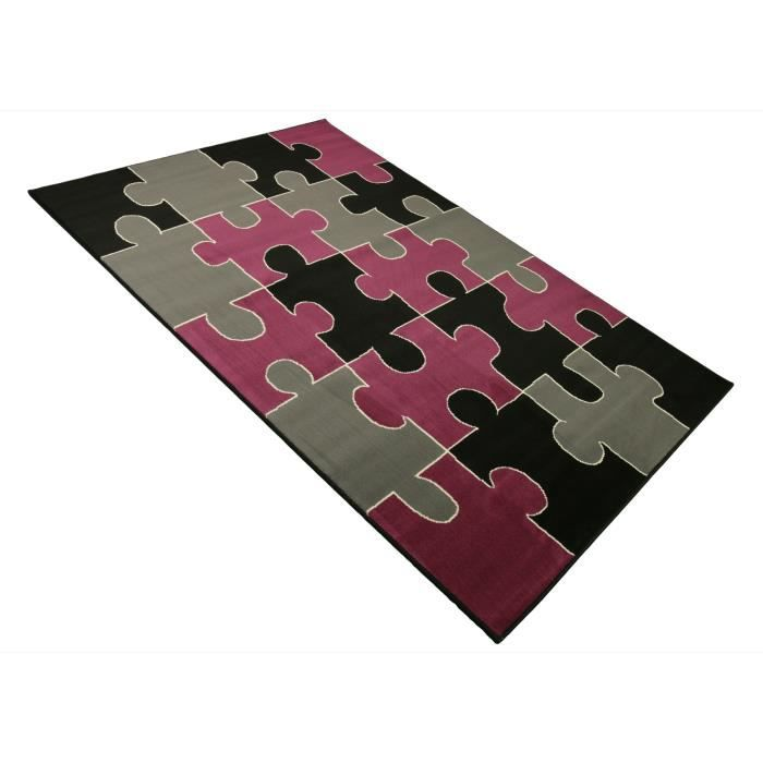 tapis salon puzzle noir rose universol achat vente tapis cdiscount. Black Bedroom Furniture Sets. Home Design Ideas