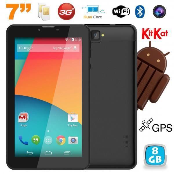 TABLETTE TACTILE Tablette 3G 7 pouces Android Dual SIM GPS 8Go Noir