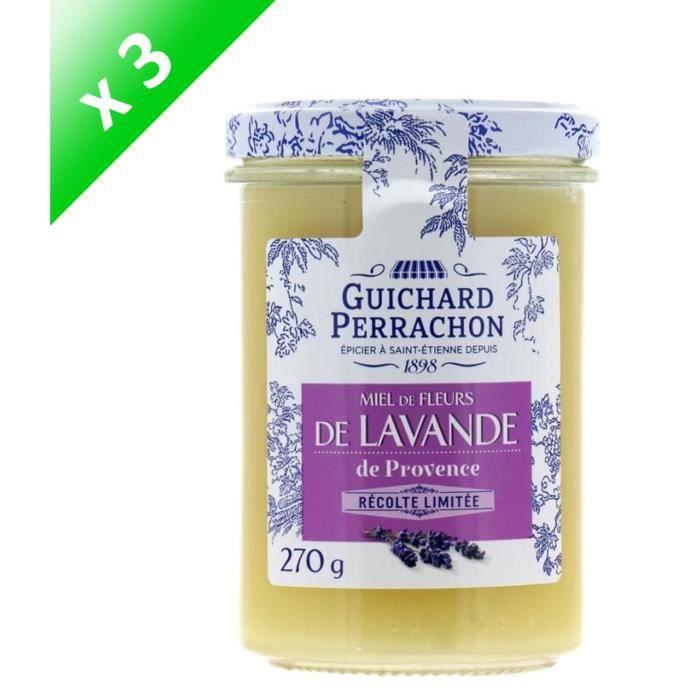 [LOT DE 3] GUICHARD PERRACHON Miel de fleurs d'acacia de Bourgogne - 270 g