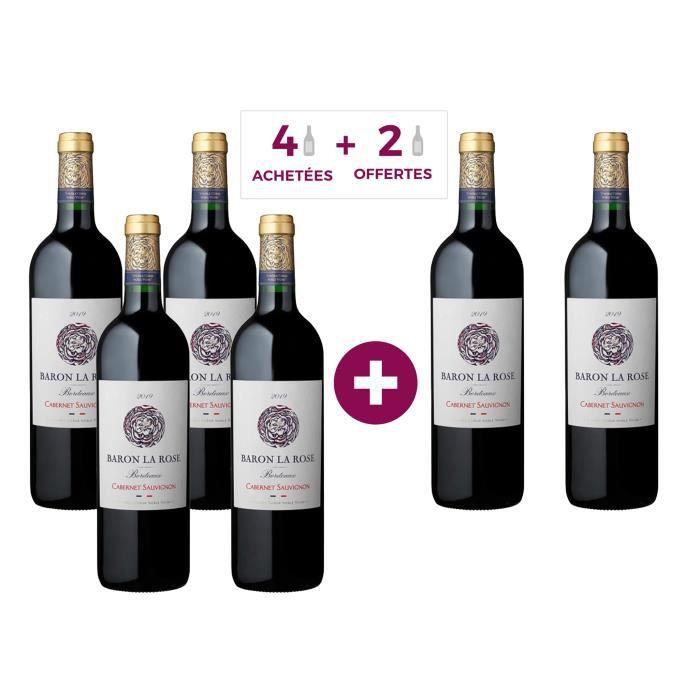 Baron La Rose 2019 Bordeaux - Vin rouge de Bordeaux - 4 achetées + 2 offertes
