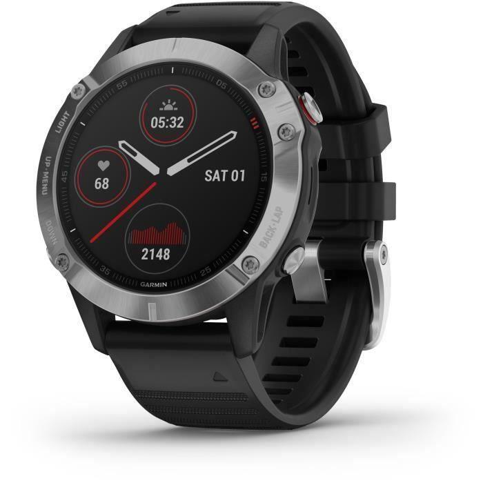 Garmin fenix 6 - Montre GPS multisports haut de gamme - Silver avec bracelet noir