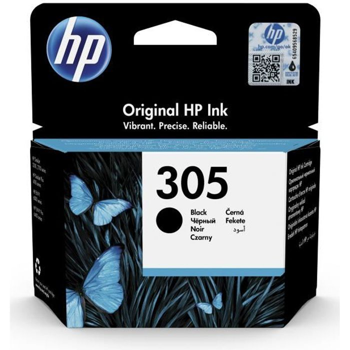 HP 305 Cartouche d'Encre Noir Authentique pour HP DeskJet 2300/ 2700/ Plus 4100, ENVY 6000/Pro 6400 (3YM61AE)