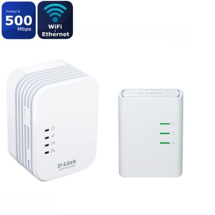 D Link Kit avec 2 Mini adaptateurs Cpl Wifi Dhp W311av Homeplug Av 500Mbps