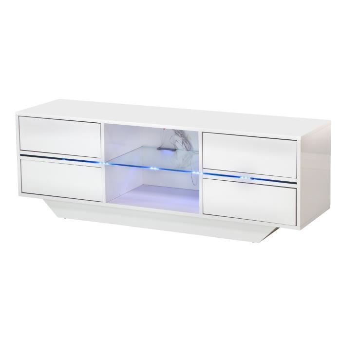 Torino meuble tv led contemporain laqué blanc l 130 cm